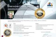 Certyfikat- renowacja skory samochodowej  Ottimo System