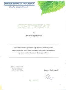 certyfikat prania dywanów i tapicerki chemspec