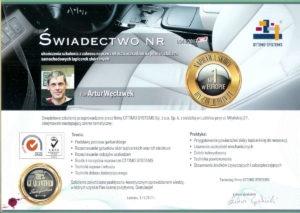 certyfikat renowacji skóry samochodowej ottimo