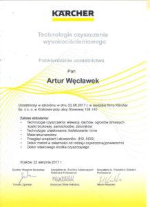 Certyfikat technologi czyszczenia ciśnieniowego Karcher